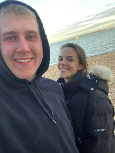 Holly and her boyfriend, Josh getting some sea air.